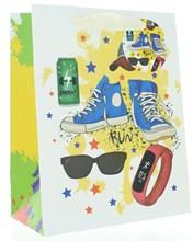 "Medium Male Gift Bag - Blue Trainers Watch Sunglasses Stars & Glitter  9""x7"""