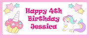 Personalised Landscape Party Banner - Pink Unicorn & Cake - Add Your Own Message