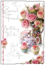 "Jonny Javelin Special Friend Birthday Card - Roses, Teapot & Cupcakes 9"" x 6.25"""