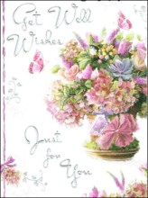 "Jonny Javelin Get Well Soon Greetings Card - Flowers & Butterflies 7.25"" x 5.5"""