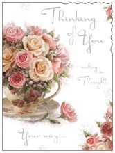 """Jonny Javelin Thinking of You Card - Flowers in Teacup 7.25"""" x 5.5"""""""