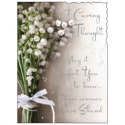 "Jonny Javelin A Caring Thought Greetings Card - White Flowers & Bow 7.25"" x 5.5"""