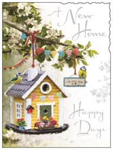 "Jonny Javelin New Home Greetings Card - Bird House and Bunting 7.25"" x 5.5"""