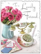 "Jonny Javelin Special Friend Birthday Card - Retro Phone & Flowers 7.25"" x 5.5"""