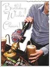 "Jonny Javelin Open Male Birthday Card - Pulling a Pint Cheers 7.25x5.5"""