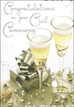 "Jonny Javelin Civil Ceremony Greetings Card - Glasses & Silver Gift 9"" x 6.25"""
