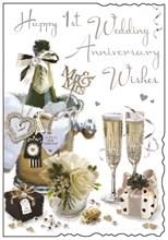 "Jonny Javelin First 1st Wedding Anniversary Card - Champagne Bucket 9"" x 6.25"""