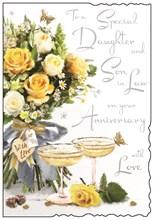 "Jonny Javelin Daughter & Son-in-Law Anniversary Card - Roses & Glasses 9 x 6.25"""