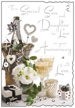 """Jonny Javelin Son & Daughter-in-Law Anniversary Card - Champagne & Roses 9x6.25"""""""