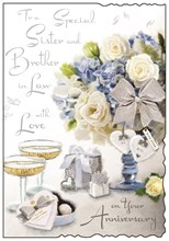 """Jonny Javelin Sister & Brother-in-Law Anniversary Card Flowers & Glasses 9x6.25"""""""