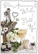 "Jonny Javelin Silver 25th Wedding Anniversary Card - Champagne Bucket 9"" x 6.25"""