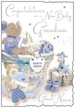 "Jonny Javelin New Baby Grandson Greetings Card - Blue Toys & Basket 9"" x 6.25"""