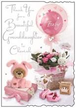 "Jonny Javelin Thank You For Baby Granddaughter Card - Flowers Balloons 9x6.25"""