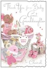 "Jonny Javelin Thank You For New Great Granddaughter Card - Pink Toys 9"" x 6.25"""