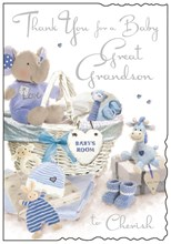 "Jonny Javelin Thank You For New Great Grandson Card - Toys & Basket 9"" x 6.25"""