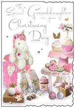 "Jonny Javelin Granddaughter's Christening Day Card - Pink Cupcakes 9"" x 6.25"""