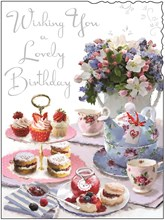 "Jonny Javelin Open Female Birthday Card Afternoon Tea with Silver Foil 7.25x5.5"""