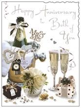 "Jonny Javelin Happy Anniversary Greetings Card - Champagne Bucket 7.25"" x 5.5"""
