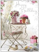 "Jonny Javelin Open Female Birthday Card - Flowers on Table Silver Foil 7.25x5.5"""