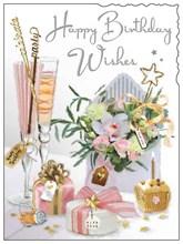 "Jonny Javelin Open Female Birthday Card - Champagne Flutes Flowers 7.25"" x 5.5"""