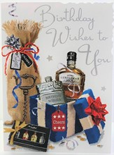 "Jonny Javelin Open Male Birthday Card - Hip Flask with Silver Foil 7.25"" x 5.5"""