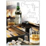 "Jonny Javelin Open Male Birthday Card - Domino's & Whiskey Bottle 7.25"" x 5.5"""