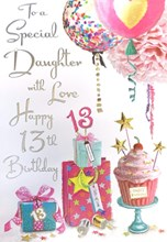 "Jonny Javelin Daughter 13th Birthday Card - Cupcake Balloons Silver Foil 9x6"""