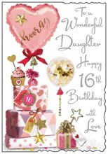"Jonny Javelin Daughter 16th Birthday Card - Pink Heart Balloon Silver Foil 9x6"""