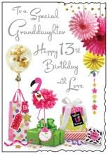 "Jonny Javelin Granddaughter 13th Birthday Card - Flamingo Gifts Silver Foil 9x6"""