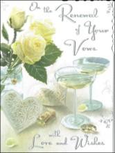 """Jonny Javelin Wedding Vow Renewal Greetings Card - Glasses & Roses 7.25"""" x 5.5"""""""