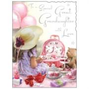 "Jonny Javelin Great Granddaughter Birthday Card - Girl & Picnic 7.25"" x 5.5"""