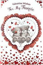 "Fiancee Valentine's Day Card - Grey Bears, Red Roses & Glitter Hearts 9"" x 6"""