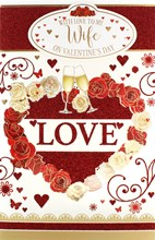 "Wife Valentine's Day Card & White Box - Flutes, Roses & Tiny Hearts 10.75"" x 7"""