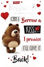 "Boyfriend Valentine's Day Card - Brown Bear, Balloon, Hearts & Kisses 9"" x 6"""