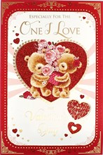 """One I Love Valentine's Day Card - Bears, Pink Roses & Red Love Hearts 9"""" x 6"""""""