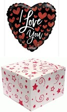 "Heart 18"" I Love You Foil Helium Balloon In Box - Black with Red Hearts"