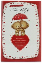 """Wife Valentine's Day Card - Two Cute Bears Under Umbrella With Pink Hearts 9x6"""""""