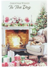 """To The Dog Christmas Card -  Dog On Chair By Fire Tree Gifts & Foil 7.5"""" x 5.25"""""""