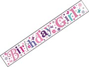 Pink and Silver Foil Happy Birthday Party Banner - Birthday Girl