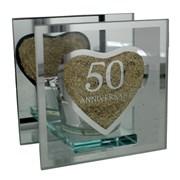 "Juliana Golden 50th Anniversary Glass Tea Light Holder With Gift Box 4"" x 4"""