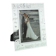 "Mr & Mrs Glass Wedding Day Photo Frame Gift 9.75"" x 8"""
