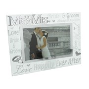 "Mr & Mrs Mirrored Glass Wedding Day Photo Frame Gift 9"" x 7"""
