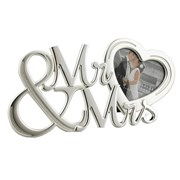 "Mr & Mrs Heart Shaped Glass Wedding Day Photo Frame Gift 4.75"" x 8.5"""