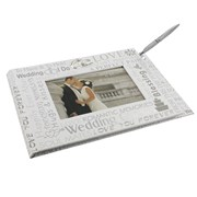 "Juliana White Wedding Day Guest Book With Grey Text & Silver Rings 7"" x 10.25"""