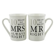 Set Of 2 10 Years Mr Right & Mrs Always Right Porcelain Mugs In Presentation Box