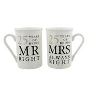 Set Of 2 25th Wedding Anniversary Porcelain Mugs In Presentation Gift Box