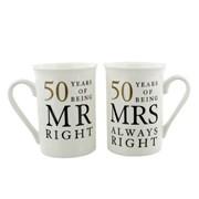 Set Of 2 Happy 50th Wedding Anniversary Porcelain Mugs In Presentation Gift Box