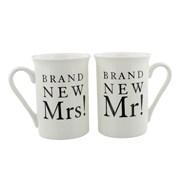 Set Of 2 Ivory Brand New Mr & Mrs! Wedding Day Porcelain Mugs In Gift Box