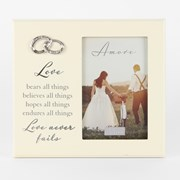 "Cream Love Never Fails Silver Rings Wedding Day Photo Frame Gift 7.25"" x 8"""