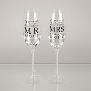 Set Of 2 25th Wedding Anniversary Glass Champagne Flutes In Gift Box